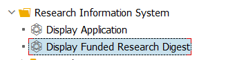 RIS file structure showing Display Funded Research Digest highlighted
